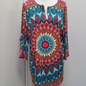 Nicole by Nicole Miller Mixed Pattern Boho Dress
